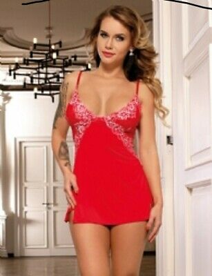 Begeistert Lovely Red Babydoll Nightie With Silver Trim - Sizes 8-22