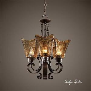 Amber tulip chandelier 20 pendant 3 light oil rubbed bronze iron image is loading amber tulip chandelier 20 pendant 3 light oil aloadofball Choice Image