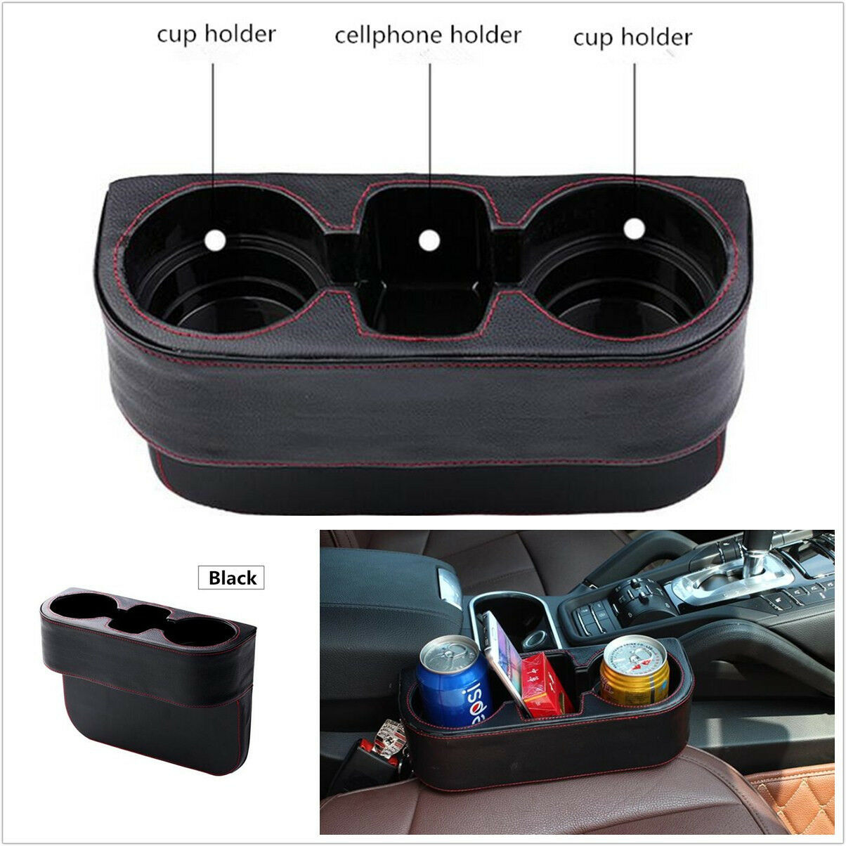 Car Seat Seam Wedge Phone Drink Bottle Drink Cup Mount Holder Storage PU Leather