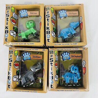 Nouveau stickbot Safari Animaux-Lot de 3 action figures 1 éléphant 1 hippo 1 Rhino