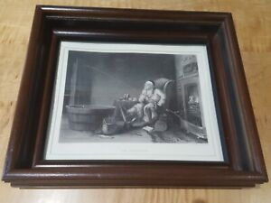 ANTIQUE-STEEL-ENGRAVING-IN-A-12-5-034-X-14-5-034-SHADOW-BOX-FRAME-THE-ENTHUSIAST
