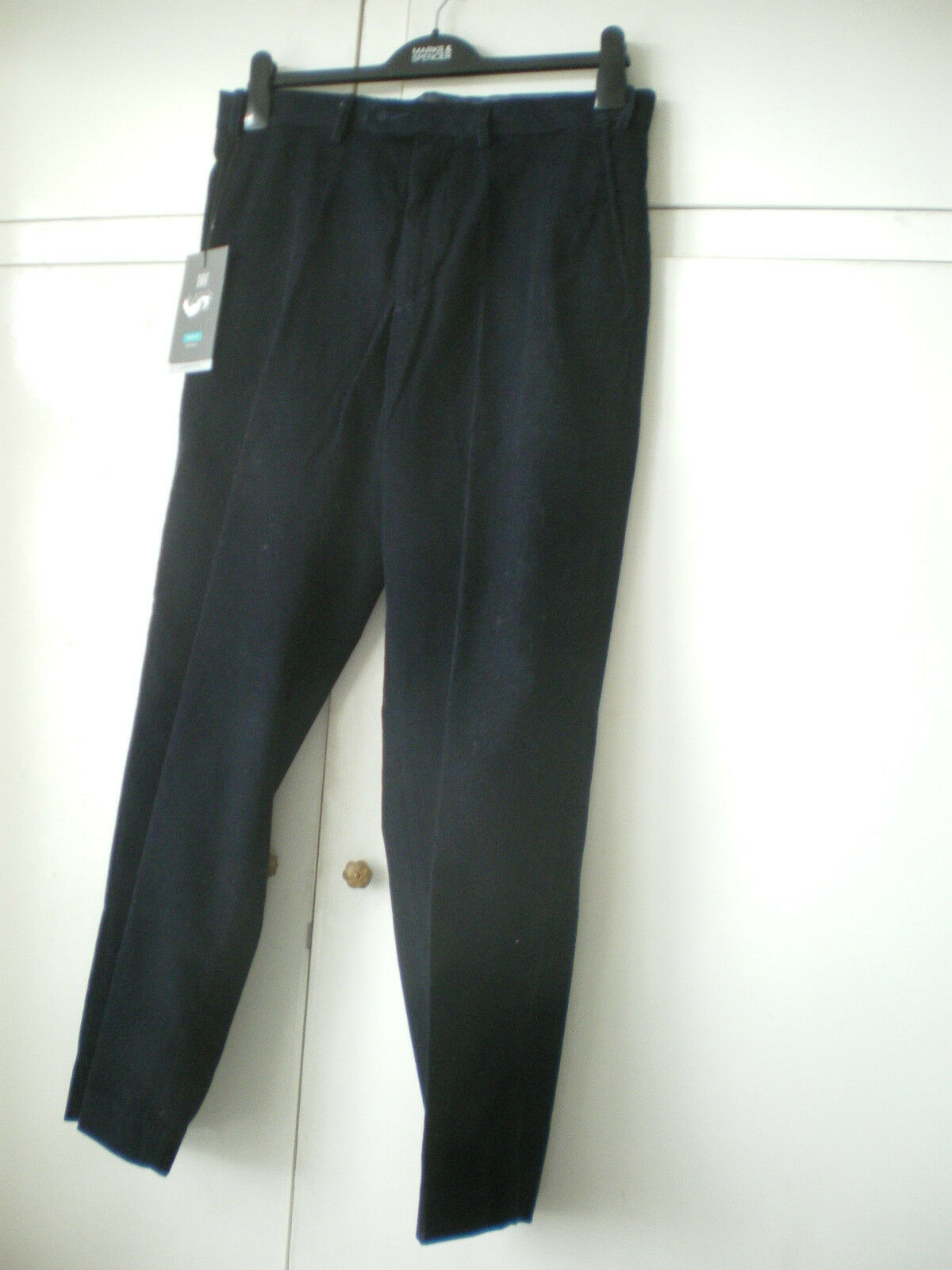 BNWT M&S Mens Collection  trousers navy waist 32 29 regular fit flat front