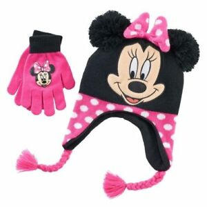 MINNIE MOUSE DISNEY Girls Knit Winter Beanies Trappers Hat /& Gloves Set NWT  $20