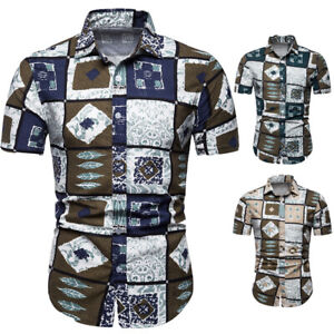 Hawaiian-Men-039-s-Summer-Floral-Printed-Shirts-Beach-Short-Sleeve-Shirt-Tops-Blouse