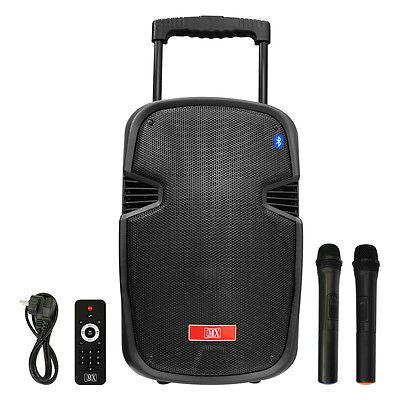 "MX 10"" Multimedia Trolley Portable Speaker Bluetooth USB Aux Wireless Microphone"