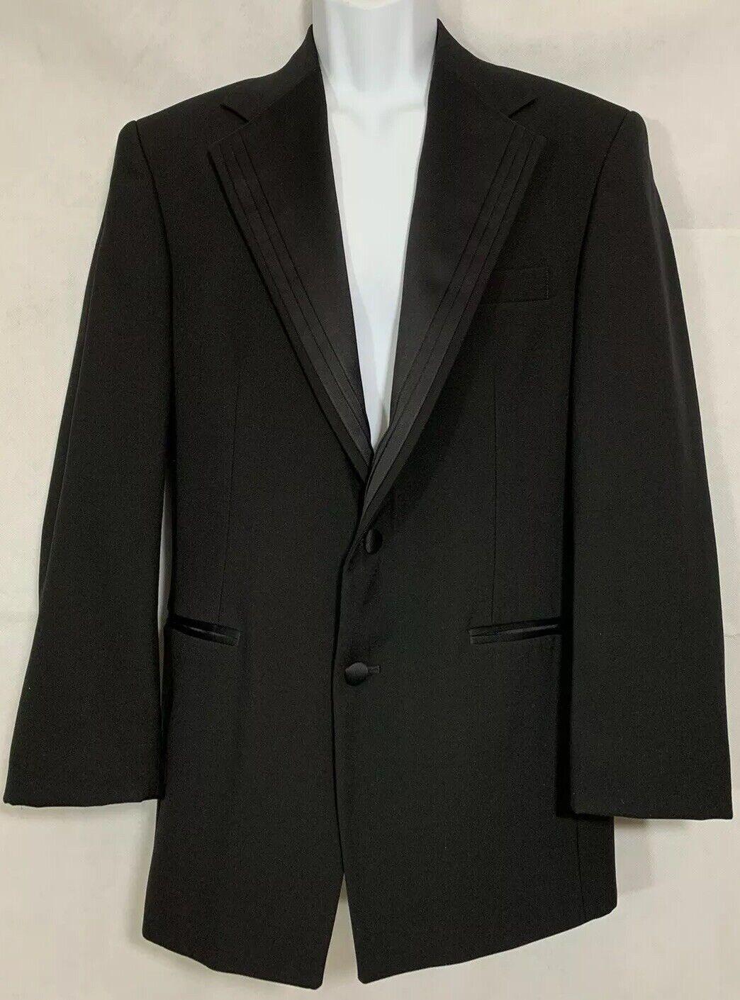 After Six Nuvo II 2 Button Black Tuxedo Jacket Sz 41S Layered Satin Notch Lapel