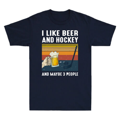 Vintage I Like Beer Hockey Maybe 3 People Funny Men/'s T-Shirt Retro Cotton Tee