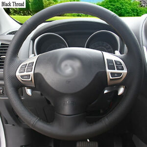 New-DIY-Sewing-on-PU-Leather-Steering-Wheel-Cover-Exact-Fit-For-Mitsubishi-ASX