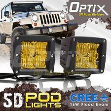 2x 16W CREE 5D LED Yellow Pod Flood Lights Universal Mount Driving Work Foglight