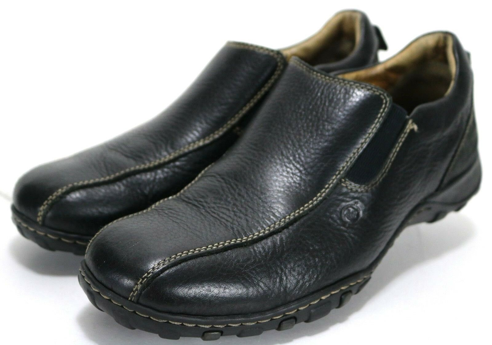 Born Men's  90 Loafers shoes Size 11.5 Pebbled Leather Black Bicycle Toe