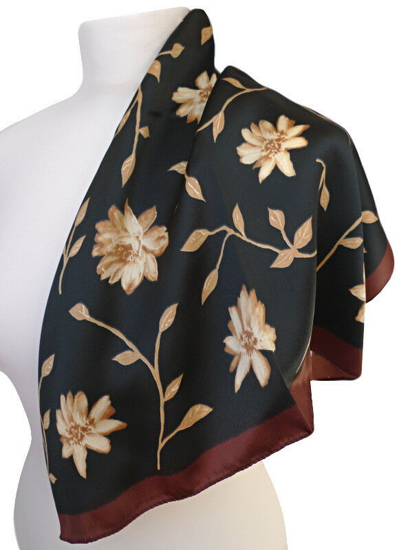 Damen Nickituch Mit Blumen Braun Schwarz Tuch 827