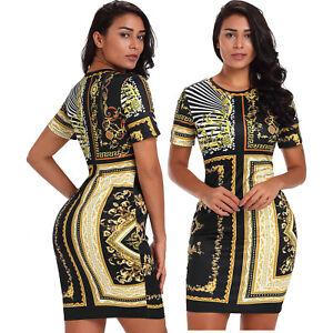hot sale 34ede f9bfa Details zu Schwarzes gold-ketten-druck kleid sommerkleid kurz damen