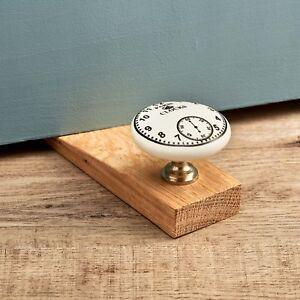Details About Vintage Paris Clock Porcelain Ceramic Oak Decorative Door Stop Wooden Door Wedge