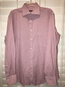 PAL-ZILERI-Mens-Size-17-1-4-36-37-Pink-Blue-Checks-Button-Down-Dress-Shirt