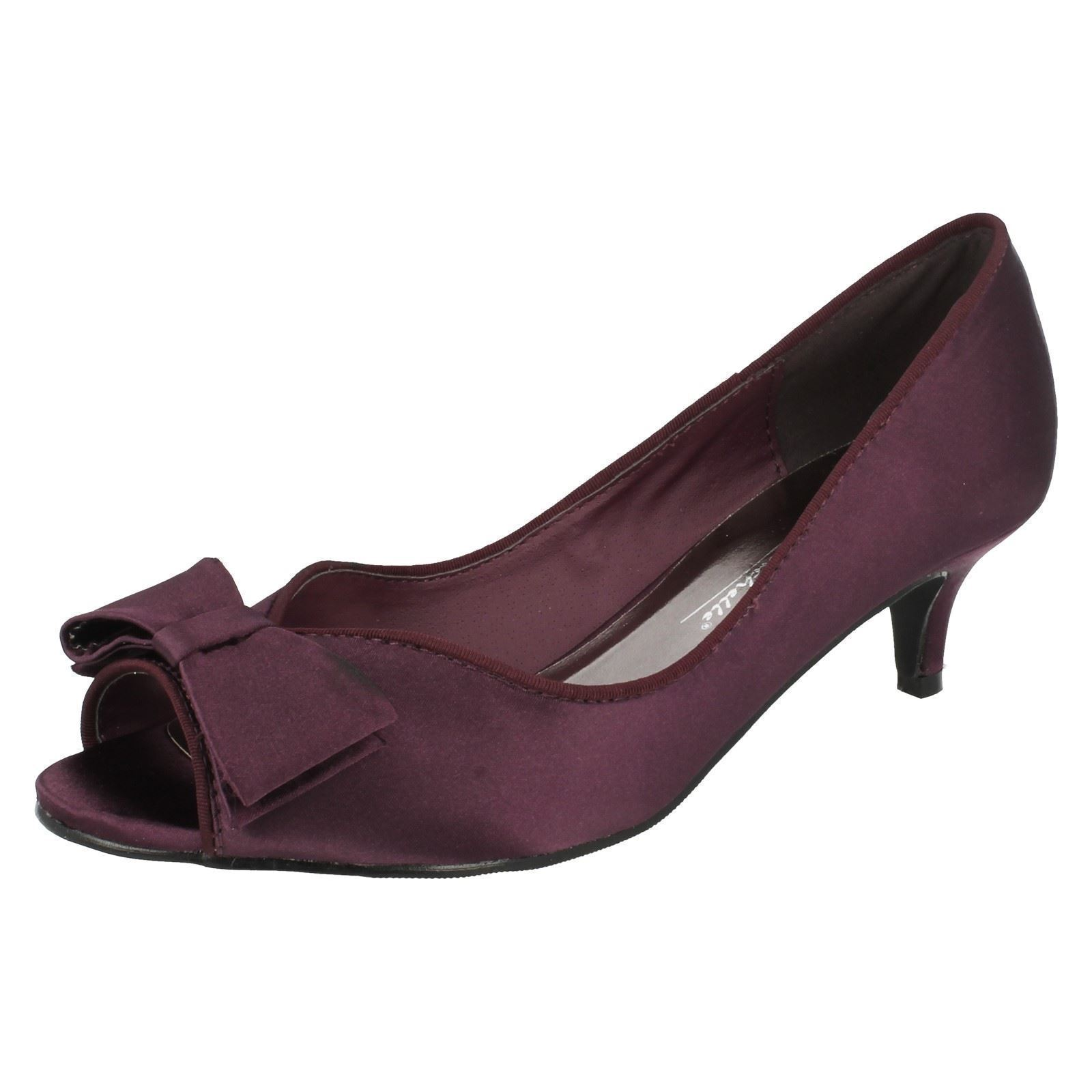 Anne Michelle Damen f10308 Satin Peeptoe Pumps lila 4x8 (29b)