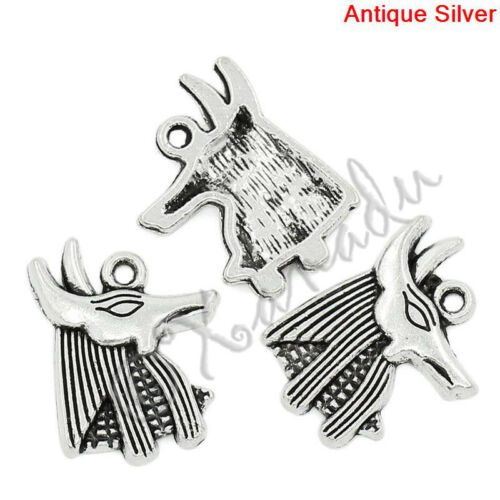Egyptian God Anubis 20mm Antiqued Silver Plated Charms C3229-10 20 Or 50PCs