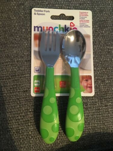 Munchkin Toddler Fork /& Spoon Set 12 Months BPA Free Green