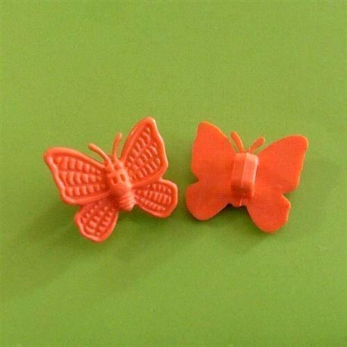 20 Papillon Fantaisie Insecte volant à coudre bouton Scrapbooking 15 mm Orange K432