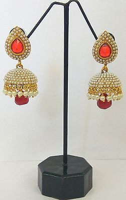 Bollywood Fashion Gold White Red Jewelry Indian Pearl Earrings Jhumka Jhumki Set