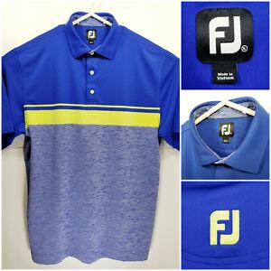 FootJoy-FJ-Mens-XL-Golf-Shirt-Polo-Blue-Neon-Polyester