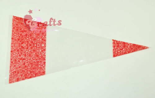 "25 Quality /""Red/"" Cone Cellophane SweetParty Bags Transparent18cm x 37cm"