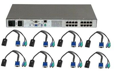 Avocent DSR2020 16 port KVM over IP Switch TESTED 8 x DSRIQ-USB cable modules