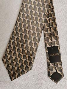 LANVIN - Cravate en soie - Voiles - Marron, beige, doré - Neuve