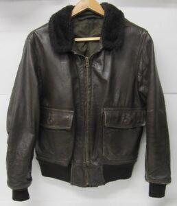 info for d5b1b e45c0 Details zu Vintage Leder Braun Bomberjacke/Fliegerjacke American Militär