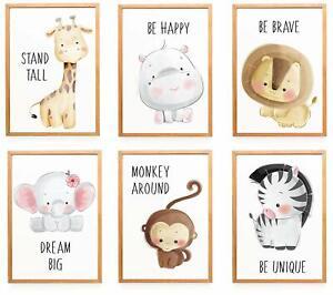Poster-6er-Set-Bilder-Tiere-Kinderzimmer-Babyzimmer-Deko-Bild-Junge-Maedchen