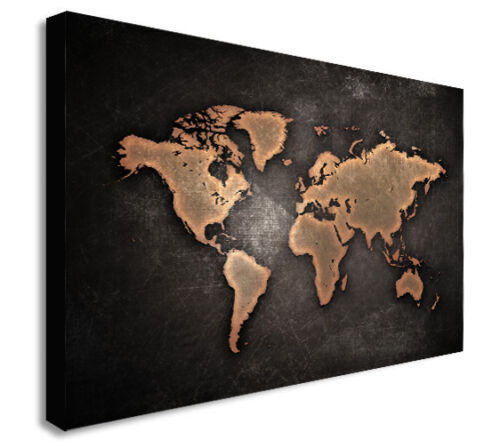 Various Sizes WORLD MAP ABSTRACT MODERN BROWN Canvas Wall Art Print