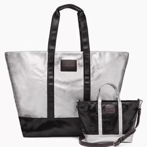 Victorias Secret Black /& Silver Weekender Get Away Tote /& Cross Body Bag