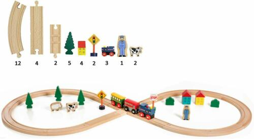 On Track USA Figure 8 Wooden Train Set 35 Piece Deluxe Set Comes in A Container