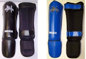 NEW-W1-Leather-Shin-Instep-Guards-Muay-Thai-Kickboxing-MMA-UFC-Black-or-Blue