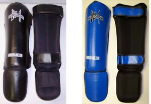 NEW W1 Leather Shin Instep Guards - Muay Thai Kickboxing MMA UFC - Black or Blue