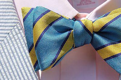 Bow Tie Club Sky Blue Striped Gent's Adjustable Self-Tie Silk Bow Tie - USA