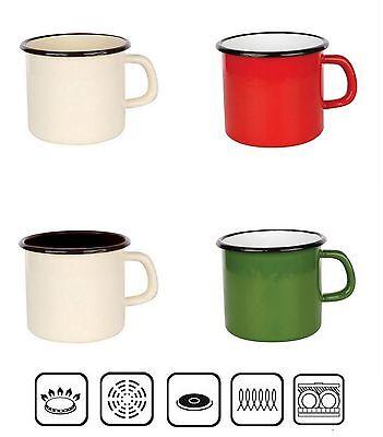 Originale Smalto Cup Tazza Tin-il Campeggio, Casa, Giardino Plain (8, 10, 14 Cm) 0.35 L A 1,7 L- Una Custodia Di Plastica è Compartimentata Per Lo Stoccaggio Sicuro