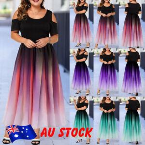 Women-Ladies-Cold-Shoulder-Elegant-Long-Maxi-Dress-Party-Ball-Gown-Dress-L-6XL