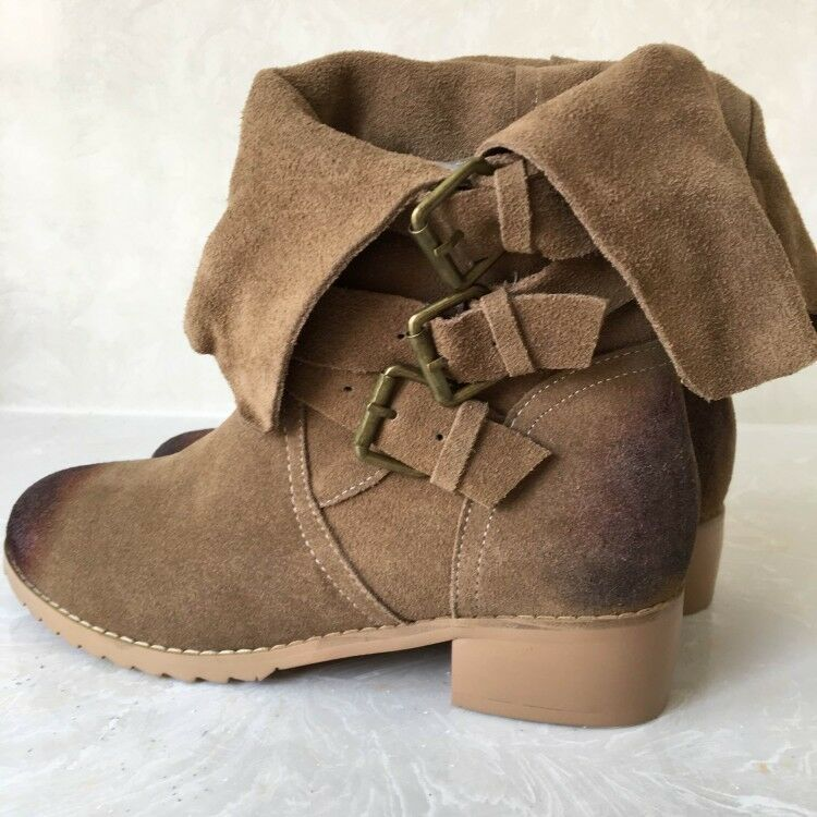 Para Mujeres Cuero De Gamuza Vintage Vintage Vintage Hebilla Tacón Bajo Punta rojoonda Martin botas Mitad de la pantorrilla  comprar nuevo barato