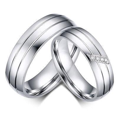 Damen Herren Ring Edelstahl Lovers Band Ring Partnerringe Edelstahlringe