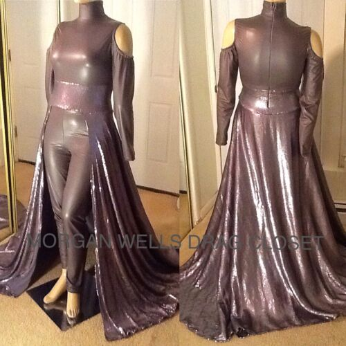 DRAG QUEEN MORGAN WELLS SLATE GREY STRETCH LEATHER AND SEQUIN JUMPSUIT