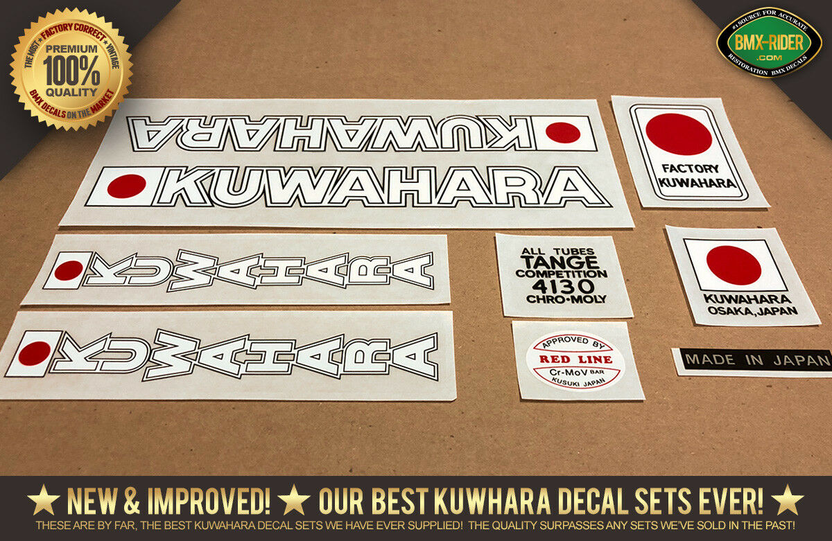 NEW Kuwahara EARLY KZ BMX Decals 1980-1981 (Late KE) Version For White Frames
