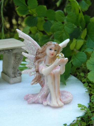 Miniature Dollhouse FAIRY GARDEN ~ Pastel Pink Shimmer Fairy with Sparkle Ball