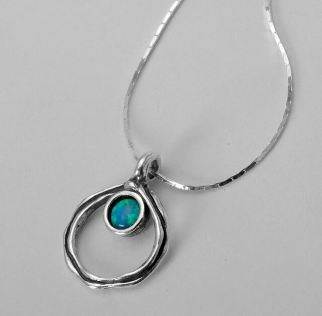 N02233OP SHABLOOL ISRAEL Didae Handcrafted Opal Sterling Silver 925 Necklace