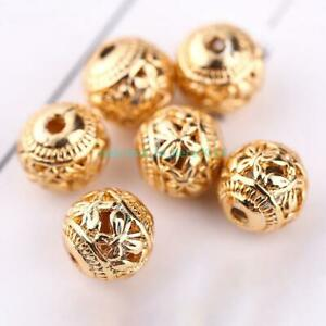 Jewelry-Charms-10pcs-Butterfly-Shape-Spacer-Beads-8mm-Round-Copper-Gold-Plating