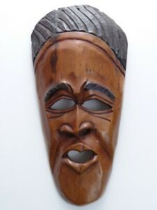 Vintage-African-Tribal-Mask-Man-039-s-Face-Hand-Carved-Wood-Wall-Hanging