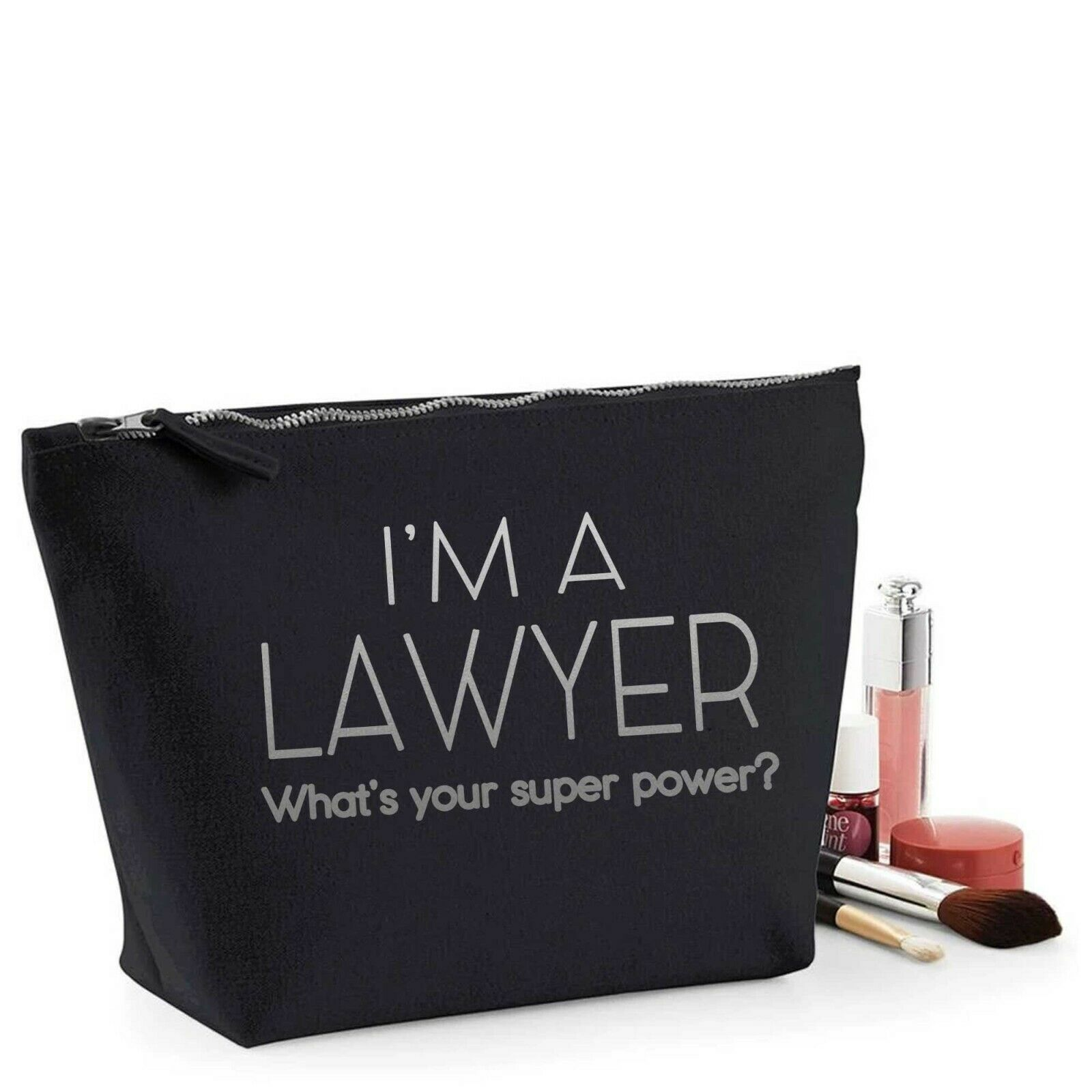 Lawyer Thank You Gift Women's Make Up Makeup Accessory Bag Silver Print