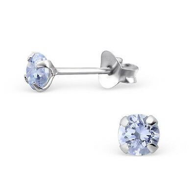 Sterling Silver 4mm Simulated Diamond Round Studs Earrings Lavender Womens 925