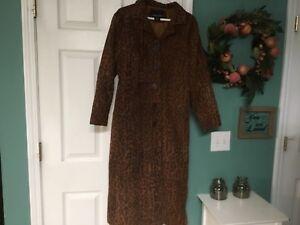 Louis taille à boutonné Manteau M femme Robert daim imprimé taille 17 long pour en animalier wpOH8q