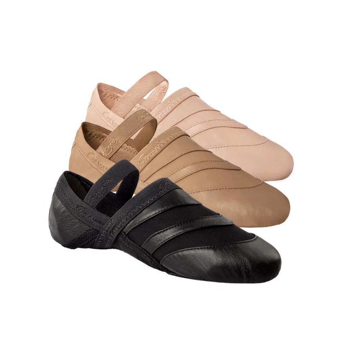 Capezio freeform FF01 split sole lyrical ballet shoes - caramel / black / pink