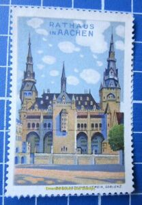 Cinderella-Poster-Stamp-Germany-Rathaus-Aachen-Town-Hall-Aix-la-Chapelle-3545